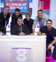 A League Of Their Own. Image shows from L to R: Joe Hart, Jack Whitehall, James Corden, Josh Widdicombe, Kevin Pietersen, Jamie Redknapp. Copyright: CPL Productions.