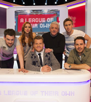 A League Of Their Own. Image shows from L to R: Jack Whitehall, Una Healy, James Corden, Kevin Keegan, Russell Howard, Jamie Redknapp. Copyright: CPL Productions.