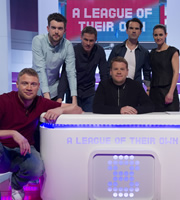 A League Of Their Own. Image shows from L to R: Andrew Flintoff, Jack Whitehall, Jamie Carragher, James Corden, Jimmy Carr, Kirsty Gallacher. Copyright: CPL Productions.