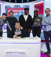 A League Of Their Own. Image shows from L to R: Jack Whitehall, Jamie Redknapp, James Corden, Lennox Lewis, Christine Ohuruogu, Sean Lock. Copyright: CPL Productions.