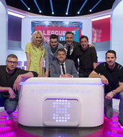 A League Of Their Own. Image shows from L to R: Andrew Flintoff, Pixie Lott, Jack Whitehall, James Corden, David Walliams, Robbie Fowler, Jamie Redknapp. Copyright: CPL Productions.