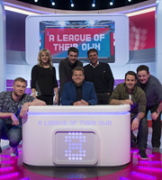 A League Of Their Own. Image shows from L to R: Andrew Flintoff, Jenny Jones, Jack Whitehall, James Corden, Gianfranco Zola, Jamie Redknapp, Johnny Vegas. Copyright: CPL Productions.