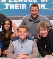 A League Of Their Own. Image shows from L to R: Olivia Wayne, James Corden, Ian Poulter, Josh Widdicombe. Copyright: CPL Productions.