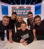 A League Of Their Own. Image shows from L to R: Andrew Flintoff, Wojciech Szczesny, Jennifer Saunders, James Corden, Jack Whitehall, Alex Brooker. Copyright: CPL Productions.