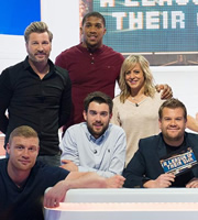 A League Of Their Own. Image shows from L to R: Andrew Flintoff, Robbie Savage, Anthony Joshua, Jack Whitehall, Jenny Jones, James Corden. Copyright: CPL Productions.