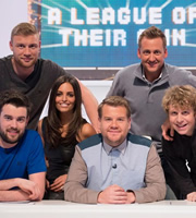 A League Of Their Own. Image shows from L to R: Jack Whitehall, Andrew Flintoff, Unknown, James Corden, Peter Schmeichel, Josh Widdicombe. Copyright: CPL Productions.