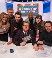 A League Of Their Own. Image shows from L to R: Amanda Holden, Andrew Flintoff, Jack Whitehall, James Corden, John Barnes, Aisling Bea, Jamie Redknapp. Copyright: CPL Productions.