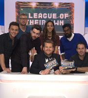 A League Of Their Own. Image shows from L to R: Tom Daley, Andrew Flintoff, Jack Whitehall, James Corden, Katarina Johnson-Thompson, Romesh Ranganathan, Jamie Redknapp. Copyright: CPL Productions.