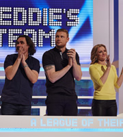 A League Of Their Own. Image shows from L to R: Micky Flanagan, Andrew Flintoff, Gabby Logan. Copyright: CPL Productions.