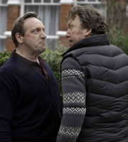 Life Of Riley. Image shows from L to R: Jim Riley (Neil Dudgeon), Roger Weaver (Richard Lumsden). Copyright: Catherine Bailey Productions Limited.