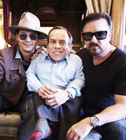 Life's Too Short. Image shows from L to R: Johnny Depp, Warwick (Warwick Davis), Ricky (Ricky Gervais). Copyright: BBC.