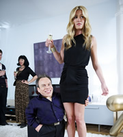 Life's Too Short. Image shows from L to R: Warwick (Warwick Davis), Cat Deeley. Copyright: BBC.