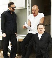 Life's Too Short. Image shows from L to R: Ricky (Ricky Gervais), Gordon Sumner, Warwick (Warwick Davis). Copyright: BBC.