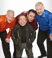 Life's Too Short. Image shows from L to R: Keith Chegwin, Warwick (Warwick Davis), Shaun Williamson, Les Dennis. Copyright: BBC.