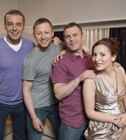 Limmy's Show!. Image shows from L to R: Alan McHugh, Brian Limond, Paul McCole, Kirstin McLean. Copyright: The Comedy Unit.