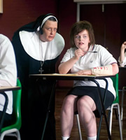 Little Crackers. Image shows from L to R: Nun (Kathy Burke), Young Kathy (Ami Metcalf).