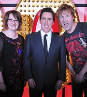 Live At The Apollo. Image shows from L to R: Sarah Millican, Rob Brydon, Ed Byrne. Copyright: Open Mike Productions.