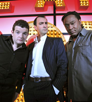 Live At The Apollo. Image shows from L to R: Kevin Bridges, Alistair McGowan, Reginald D Hunter. Copyright: Open Mike Productions.