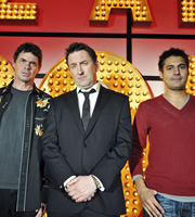 Live At The Apollo. Image shows from L to R: Rich Hall, Lee Mack, Danny Bhoy. Copyright: Open Mike Productions.