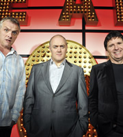 Live At The Apollo. Image shows from L to R: Greg Davies, Dara O Briain, Stewart Francis. Copyright: Open Mike Productions.