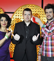 Live At The Apollo. Image shows from L to R: Shappi Khorsandi, Kevin Bridges, Jack Whitehall. Copyright: Open Mike Productions.