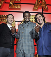 Live At The Apollo. Image shows from L to R: Jon Richardson, Stephen K Amos, Micky Flanagan. Copyright: Open Mike Productions.