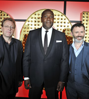 Live At The Apollo. Image shows from L to R: Mike Wilmot, Lenny Henry, Tommy Tiernan. Copyright: Open Mike Productions.