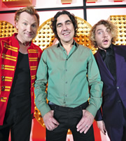 Live At The Apollo. Image shows from L to R: Jason Byrne, Micky Flanagan, Seann Walsh. Copyright: Open Mike Productions.