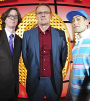 Live At The Apollo. Image shows from L to R: Ed Byrne, Sean Lock, Simon Brodkin. Copyright: Open Mike Productions.
