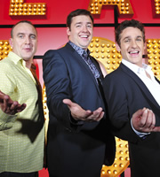 Live At The Apollo. Image shows from L to R: Jimeoin, Jason Manford, Tom Stade. Copyright: Open Mike Productions.