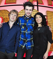Live At The Apollo. Image shows from L to R: Josh Widdicombe, Jack Whitehall, Shappi Khorsandi. Copyright: Open Mike Productions.