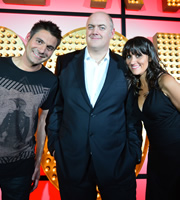 Live At The Apollo. Image shows from L to R: Danny Bhoy, Dara O Briain, Nina Conti. Image credit: Open Mike Productions.