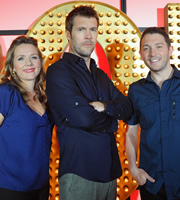 Live At The Apollo. Image shows from L to R: Kerry Godliman, Rhod Gilbert, Jon Richardson. Copyright: Open Mike Productions.