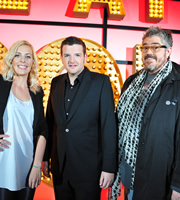 Live At The Apollo. Image shows from L to R: Sara Pascoe, Kevin Bridges, Phill Jupitus. Copyright: Open Mike Productions.