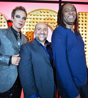 Live At The Apollo. Image shows from L to R: Julian Clary, Omid Djalili, Reginald D Hunter. Copyright: Open Mike Productions.