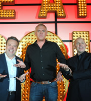 Live At The Apollo. Image shows from L to R: Hal Cruttenden, Greg Davies, Simon Evans. Copyright: Open Mike Productions.