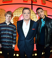 Live At The Apollo. Image shows from L to R: Josh Widdicombe, Eddie Izzard, Trevor Noah. Copyright: Open Mike Productions.