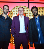 Live At The Apollo. Image shows from L to R: Marcus Brigstocke, Sean Lock, Romesh Ranganathan. Copyright: Open Mike Productions.