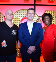 Live At The Apollo. Image shows from L to R: Terry Alderton, Adam Hills, Andi Osho. Copyright: Open Mike Productions.