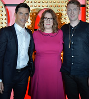 Live At The Apollo. Image shows from L to R: Russell Kane, Sarah Millican, Joe Lycett. Copyright: Open Mike Productions.