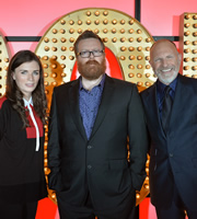 Live At The Apollo. Image shows from L to R: Aisling Bea, Frankie Boyle, Simon Evans. Copyright: Open Mike Productions.
