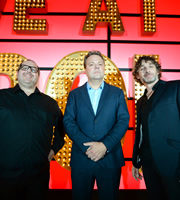 Live At The Apollo. Image shows from L to R: Justin Moorhouse, Hal Cruttenden, Tom Stade. Image credit: Open Mike Productions.