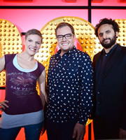 Live At The Apollo. Image shows from L to R: Francesca Martinez, Alan Carr, Nish Kumar. Copyright: Open Mike Productions.