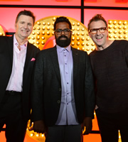 Live At The Apollo. Image shows from L to R: Stewart Francis, Romesh Ranganathan, Jason Byrne. Image credit: Open Mike Productions.