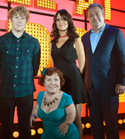 Live At The Apollo. Image shows from L to R: Josh Widdicombe, Tanyalee Davis, Nina Conti, Hal Cruttenden. Copyright: Open Mike Productions.