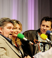 MacAulay And Co. Image shows from L to R: Andre Vincent, Jo Caulfield, Adam Hills. Copyright: BBC.