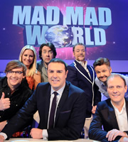 Mad Mad World. Image shows from L to R: Rhys Darby, Denise Van Outen, Jonathan Ross, Paddy McGuinness, Rufus Hound, Rob Rouse, Antony Cotton. Copyright: Roughcut Television.