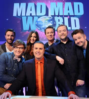 Mad Mad World. Image shows from L to R: Gino D'Acampo, Rhys Darby, Lisa Snowdon, Paddy McGuinness, Martin Kemp, Rufus Hound, Rob Rouse. Copyright: Roughcut Television.