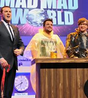 Mad Mad World. Image shows from L to R: Paddy McGuinness, Peter Andre, Rhys Darby. Copyright: Roughcut Television.