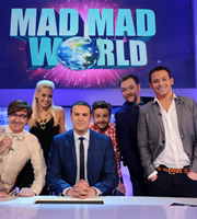Mad Mad World. Image shows from L to R: Rhys Darby, Kimberly Wyatt, Paddy McGuinness, Rob Rouse, Rufus Hound, Joe Swash. Copyright: Roughcut Television.